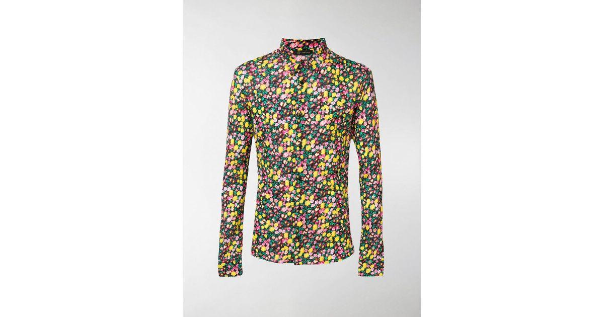 4cafef31 Lyst - Versace Floral-print Shirt in Black for Men