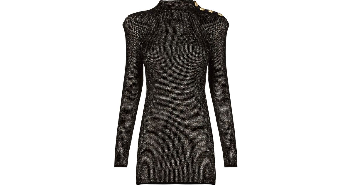 Lyst Balmain Lurex Knit Dress In Black