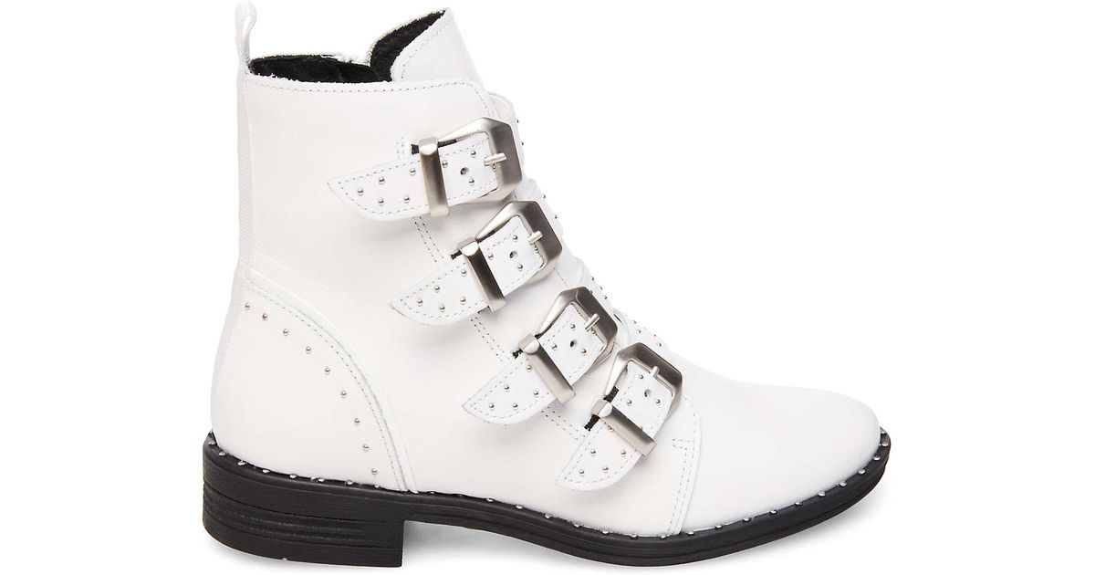 c9df1b9a495 Lyst - Steve Madden Pursue Motorcycle Boot in White