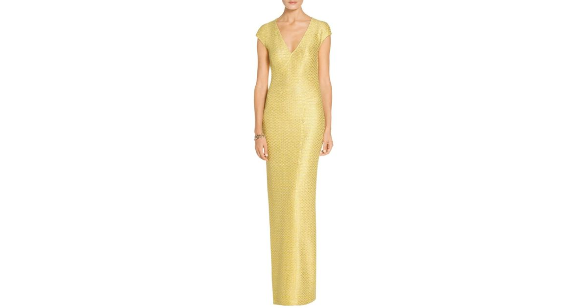 Lyst - St. John Sale Hansh Knit V-neck Cap Sleeve Gown in Yellow
