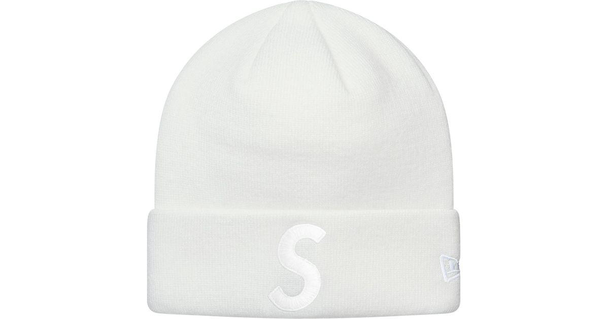 7a8f0fe2658 Lyst - Supreme New Era S Logo Beanie White in White