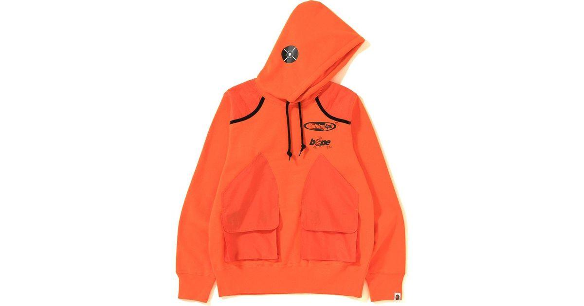 08723f13 Lyst - A Bathing Ape Manhunt Pullover Hoodie Orange in Orange for Men