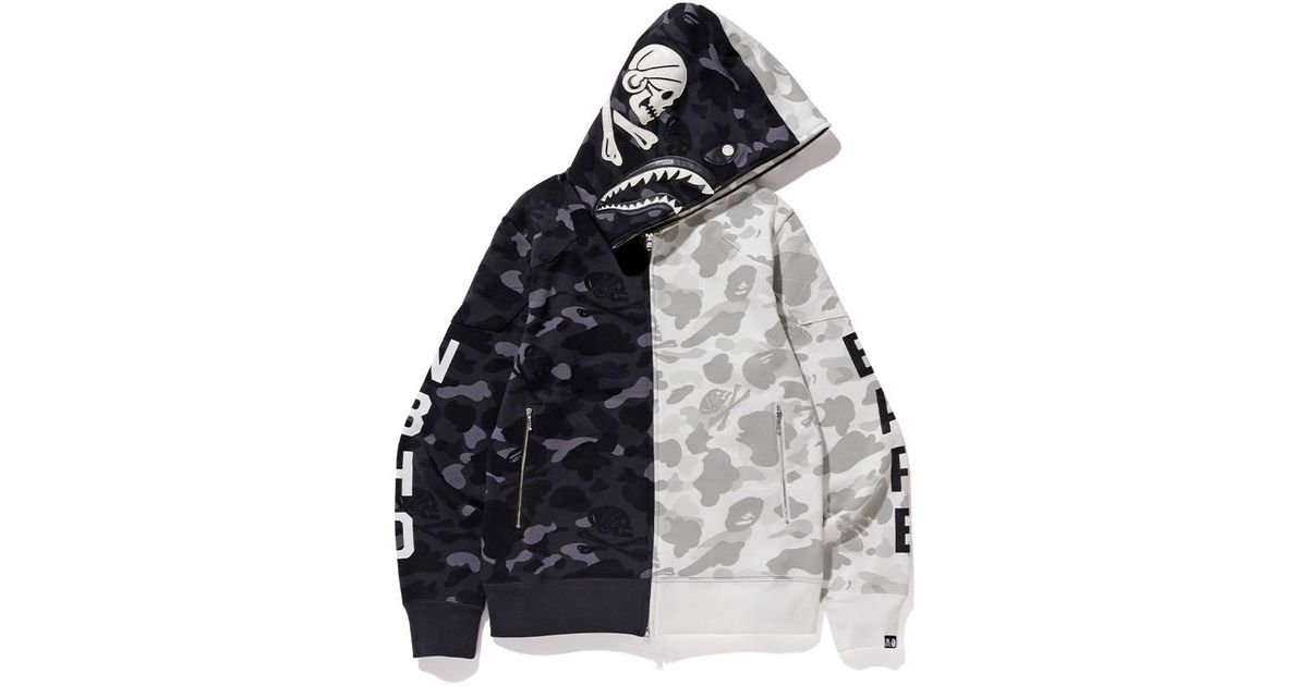 f4c207bdb A Bathing Ape X Neighborhood Split Camo Shark Full Zip Hoodie Black/white  in Black for Men - Lyst