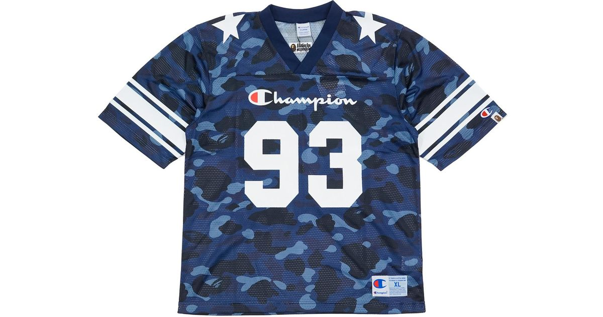 2af03bd98 A Bathing Ape Champion Color Camo Football Jersey Navy in Blue for Men -  Lyst