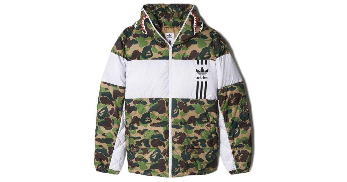 b076ca495 A Bathing Ape. Men's X Adidas Abc Camo Firebird Shark Puffer Jacket Green