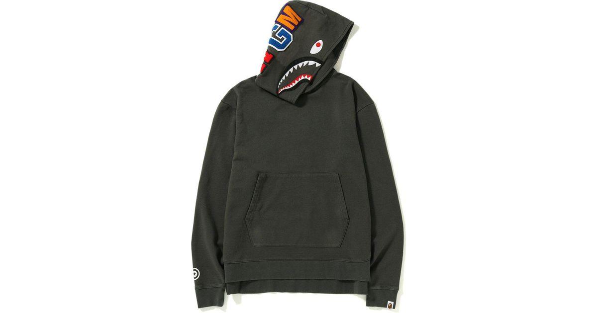 88aabb51 A Bathing Ape Vintage Wash Shark Wide Pullover Hoodie Black in Black for Men  - Lyst