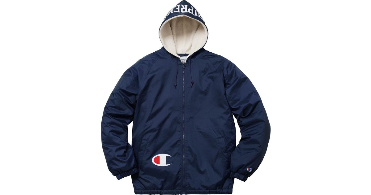 3b3aa766 Supreme Champion Sherpa Lined Hooded Jacket Navy in Blue for Men - Lyst