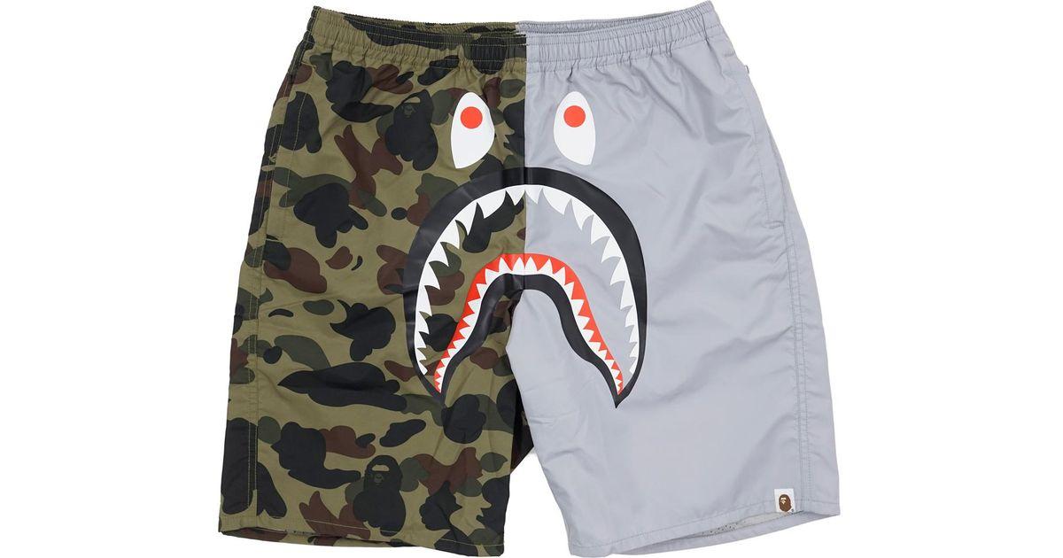 594e2e59fd9b Lyst - A Bathing Ape Half 1st Camo Shark Beach Shorts Green grey for Men