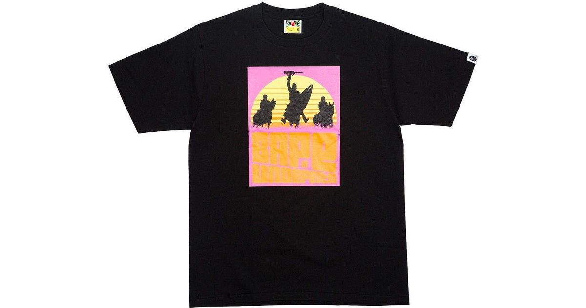 2485fac1 A Bathing Ape X Undefeated Rising Sun Tee Black in Black for Men - Lyst
