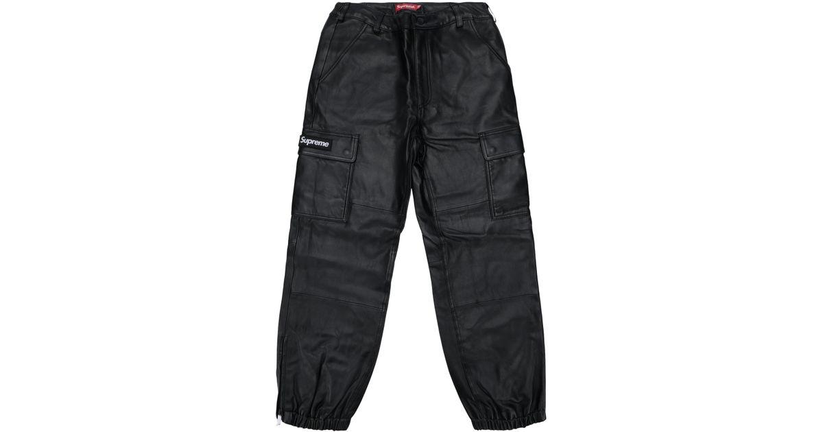 buy sale los angeles brand new Supreme Leather Cargo Pants Black for men