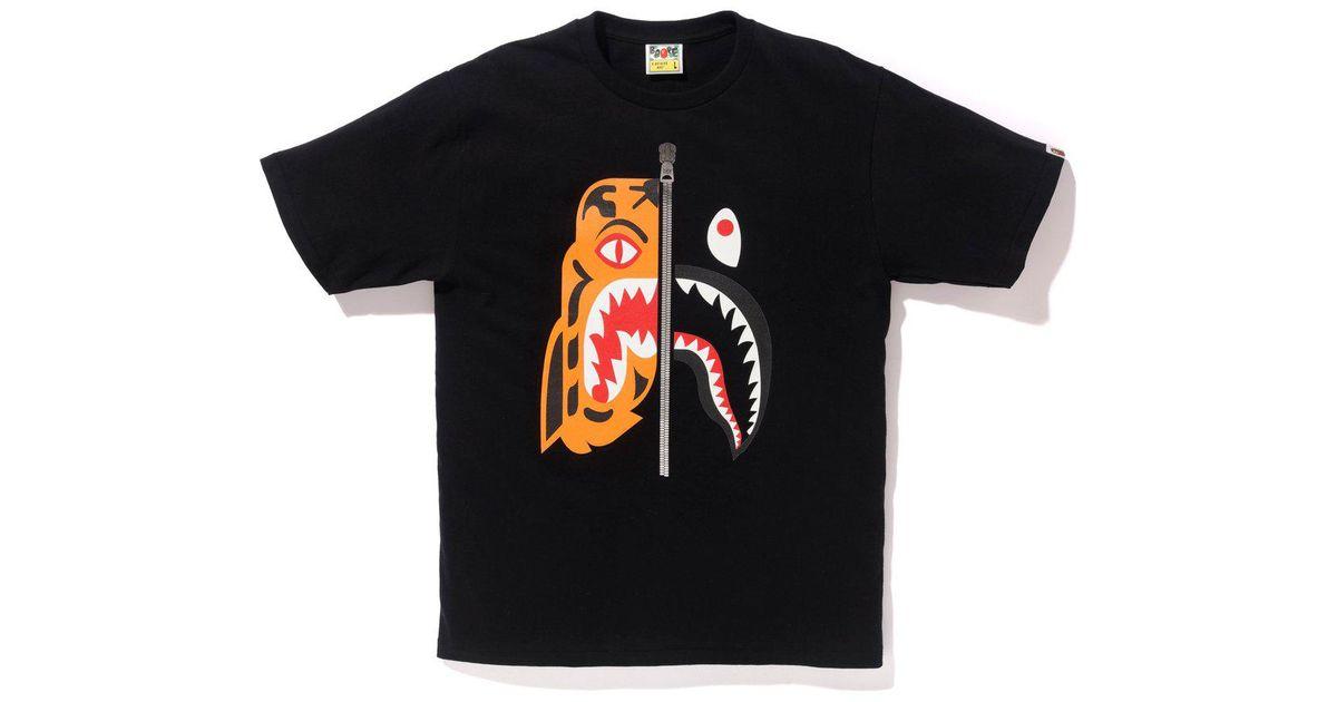 c4736f988 A Bathing Ape Tiger Shark Tee Black in Black for Men - Lyst