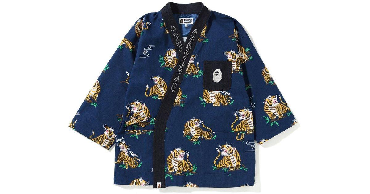 76c653f5 A Bathing Ape Tiger Pattern Kimono Shirt Navy in Blue for Men - Lyst