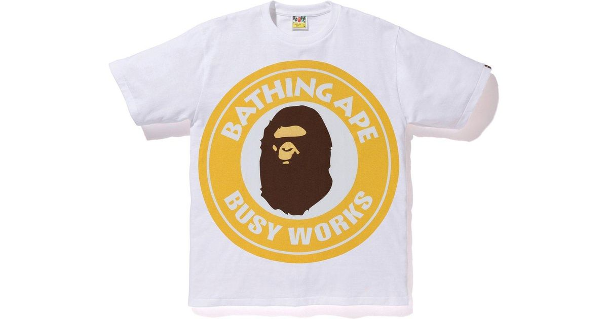 7ba7810a25b Lyst - A Bathing Ape Colorful Pigment Busy Works Tee White yellow in White  for Men