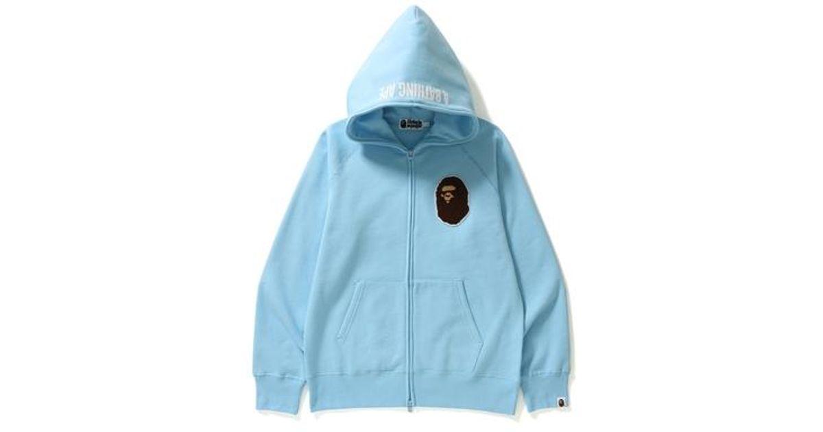 f2a03e86 Lyst - A Bathing Ape Ape Head One Point Full Zip Hoodie Light Blue in Blue  for Men