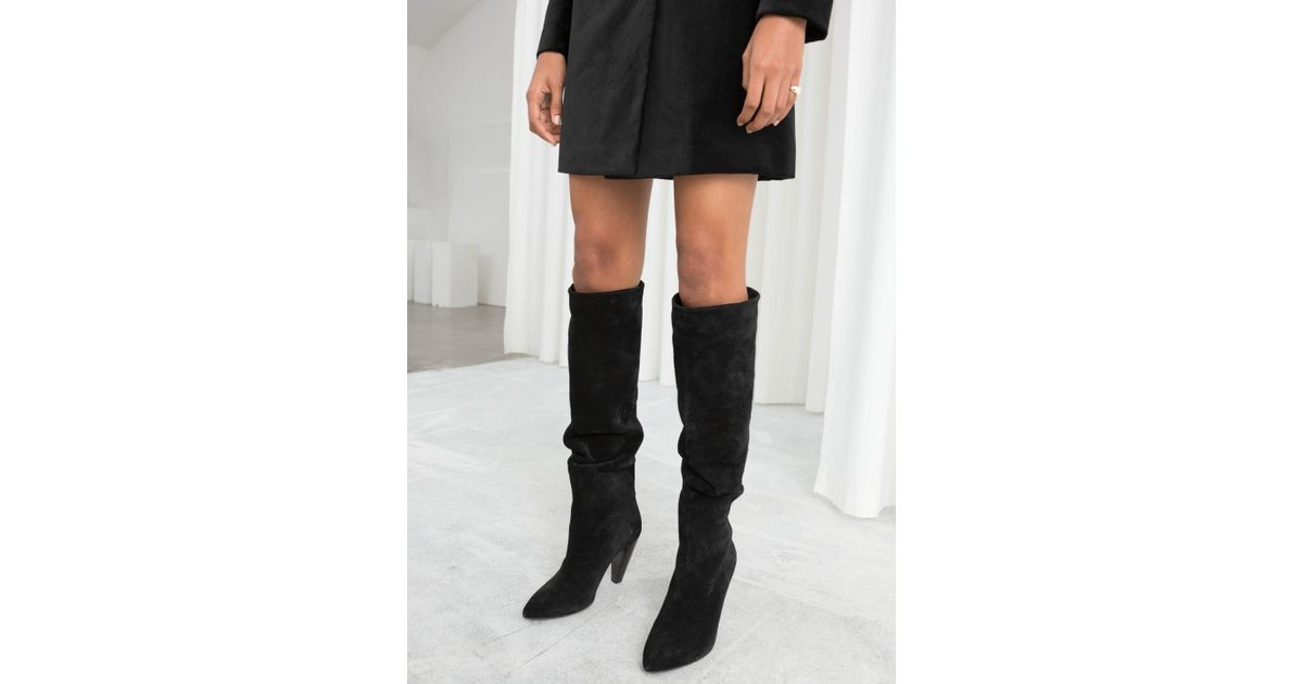 6a193c44c2d   Other Stories Knee High Suede Boots in Black - Lyst