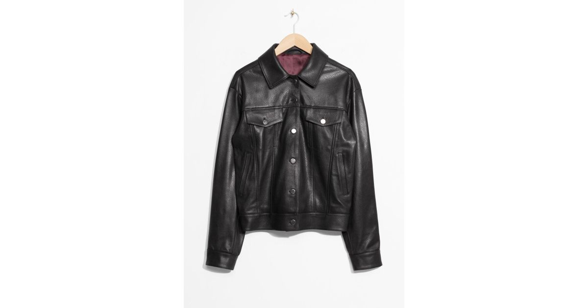 90a3a55d0876 & Other Stories Leather Jacket in Black - Lyst