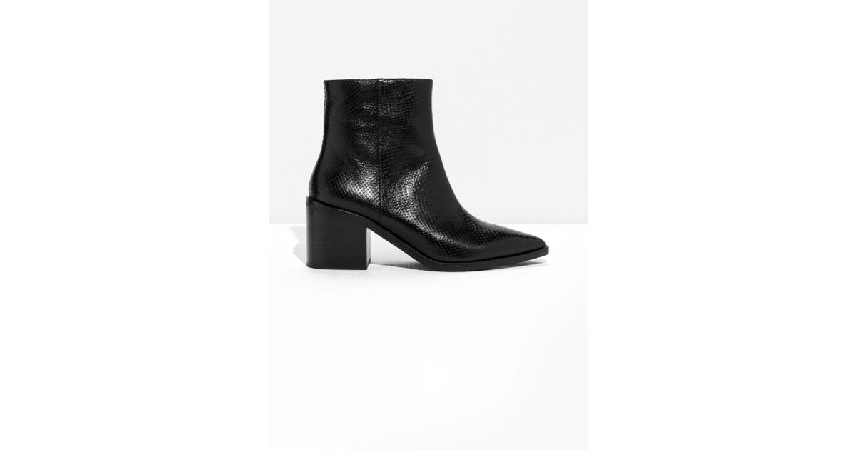 64d9c032a9 Lyst - & Other Stories Pointy Block Heel Boots in Black