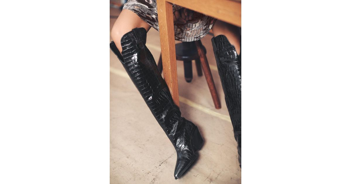 f108e6cff42 Lyst -   Other Stories Patent Croc Knee High Cowboy Boots in Black