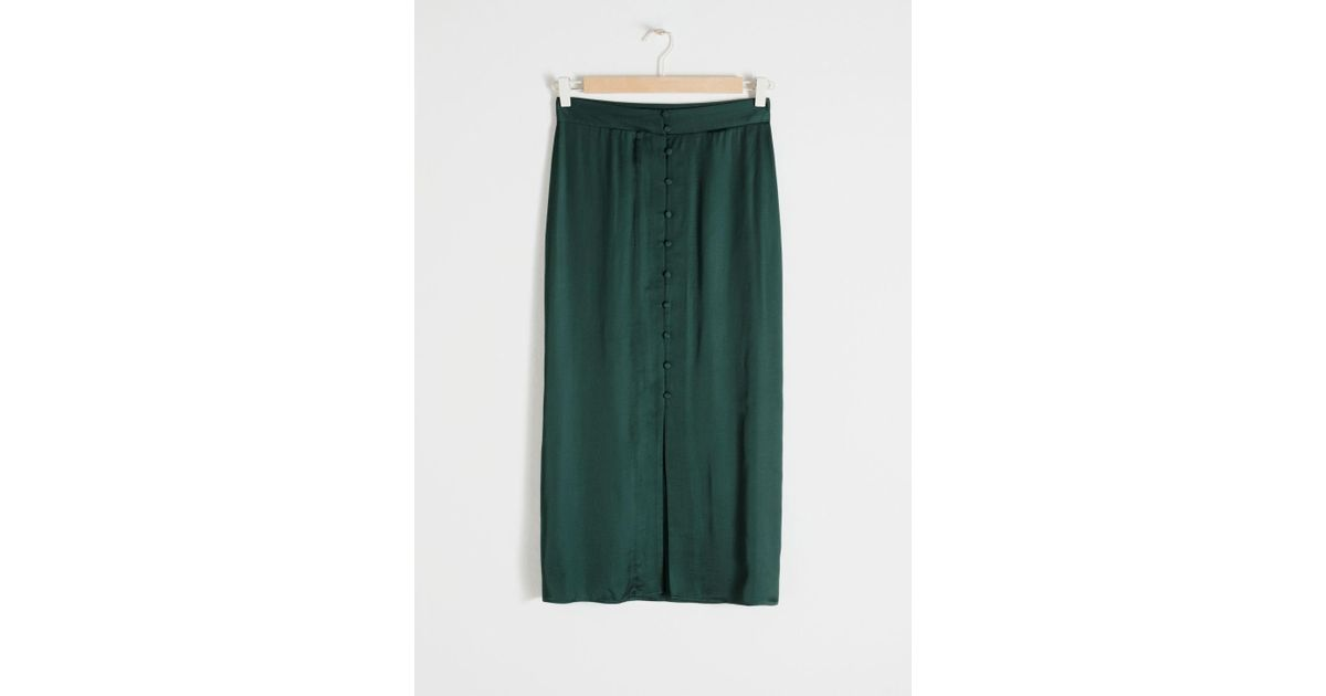 1404628ef & Other Stories High Waisted Buttoned Midi Skirt in Green - Lyst