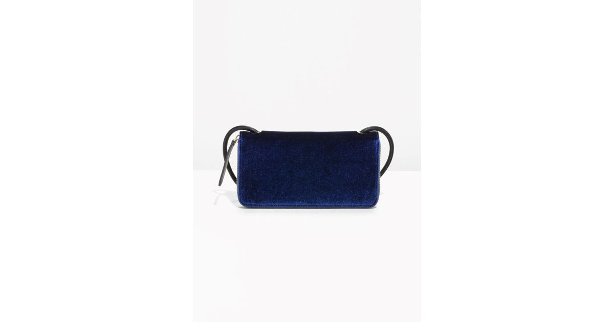 ebdd37ed51ab3 Lyst -   Other Stories Velvet Wallet With Strap in Blue