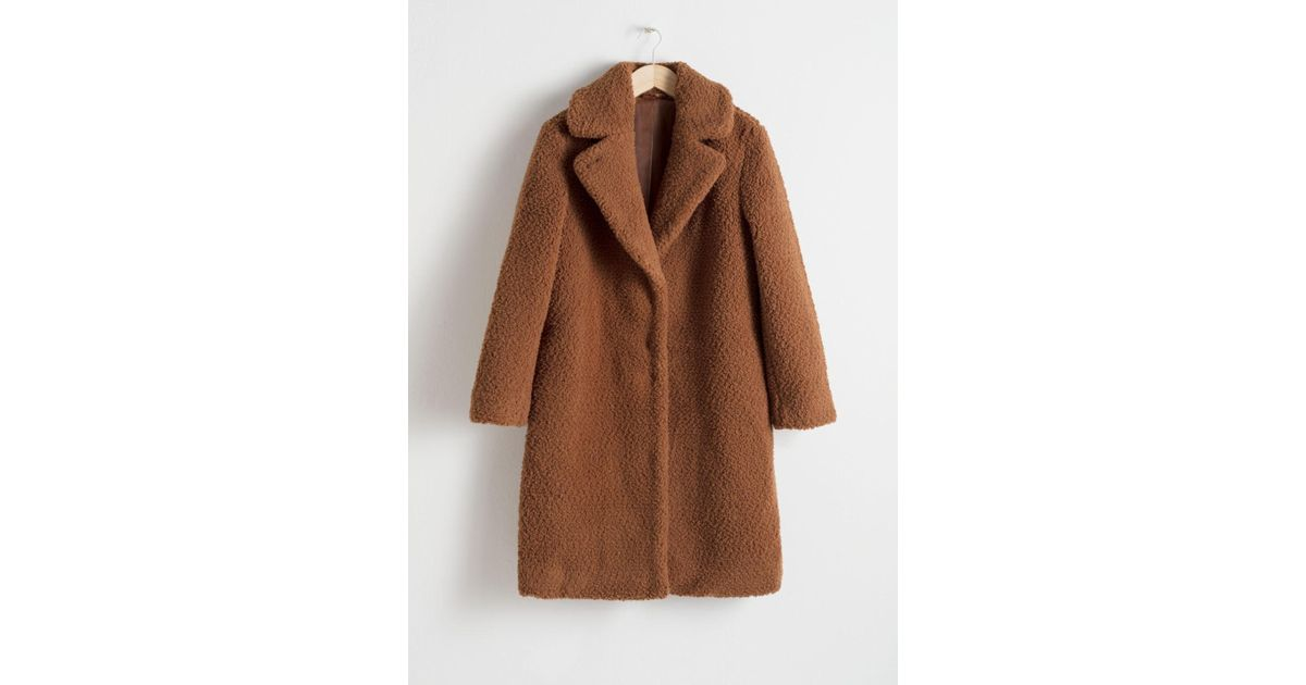 d8f52ab6 & Other Stories Faux Shearling Teddy Coat in Orange - Lyst