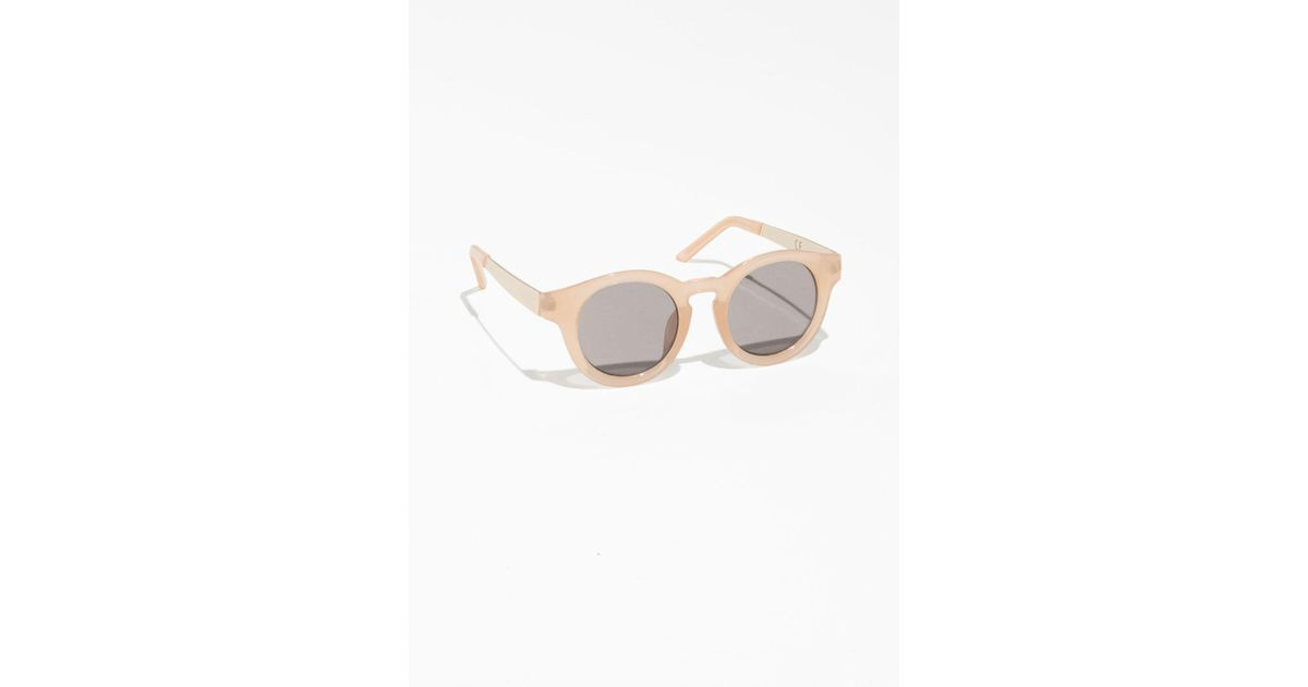 e453eeef10472 Lyst -   Other Stories Mirrored Round Frame Sunglasses in Natural
