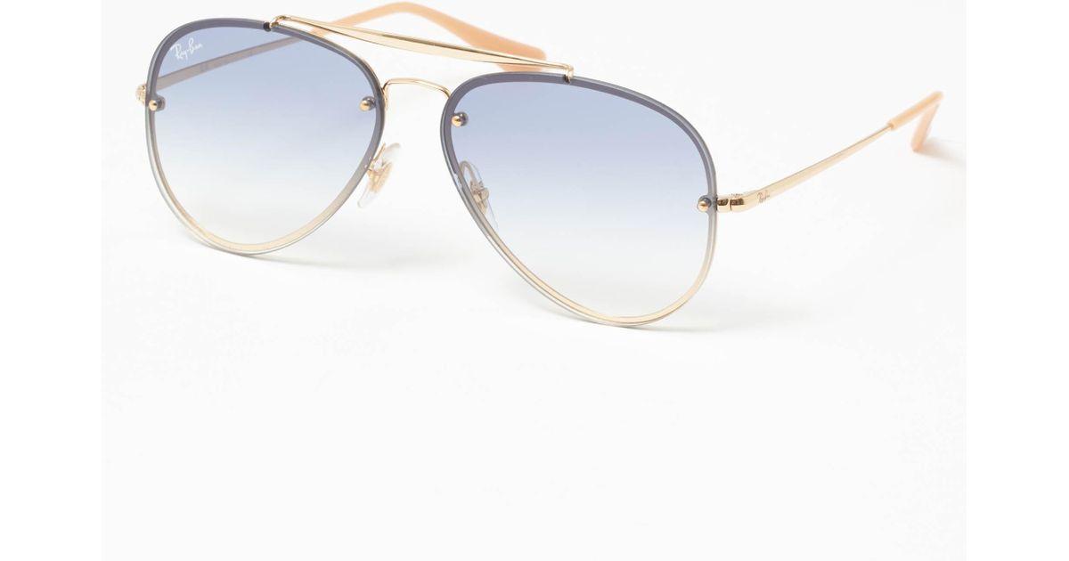 0b352d60773 Ray-Ban Gold Blaze Aviator Sunglasses - Light Blue Gradient Lenses in  Metallic for Men - Lyst