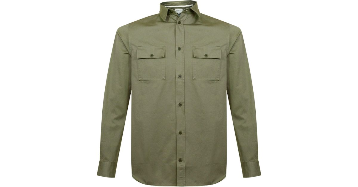 45f0d43165b Lyst - Norse Projects Villads Twill Olive Shirt in Green for Men
