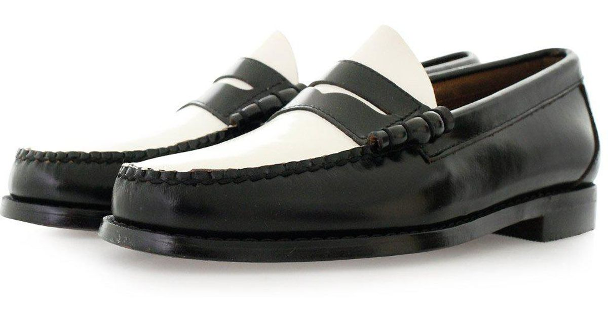 Lyst - G.H. Bass & Co. Larson Moc Penny Black And White ...