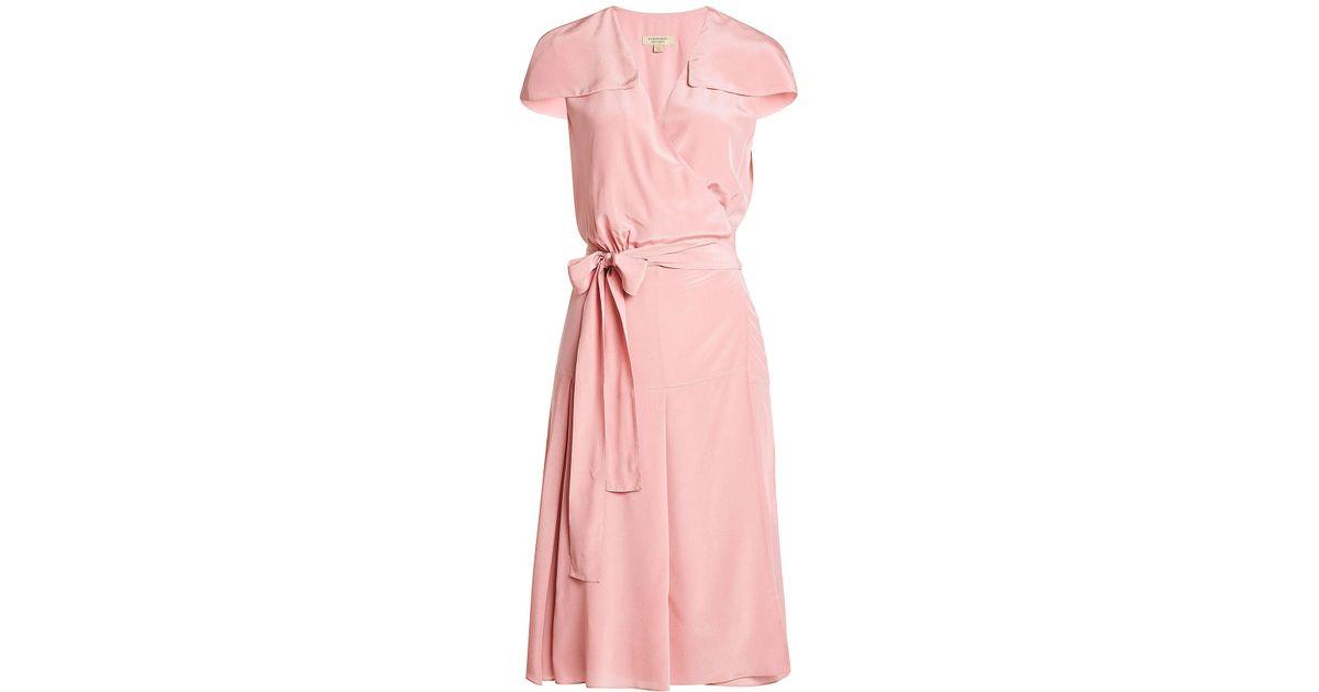 9544251dfa70b Lyst - Robe en soie Burberry en coloris Rose