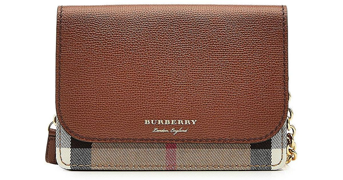 8a58efa52428 Lyst - Burberry Hampshire Mini Shoulder Bag With Leather And Checked Fabric  in Brown