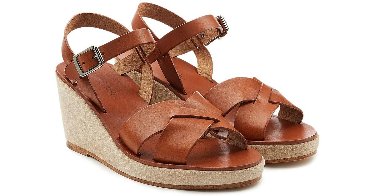 2a28ae3762f2 A.P.C. Judith Sandals In Noisette Calfskin in Brown - Save 41% - Lyst
