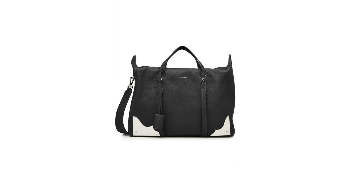 Lyst Calvin Klein 205w39nyc Leather Duffle Bag With Metal Hardware In Black