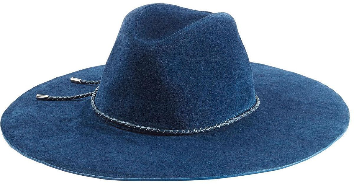 fd4718403a1 Lyst - Emilio Pucci Suede Fedora With Leather Trim in Blue