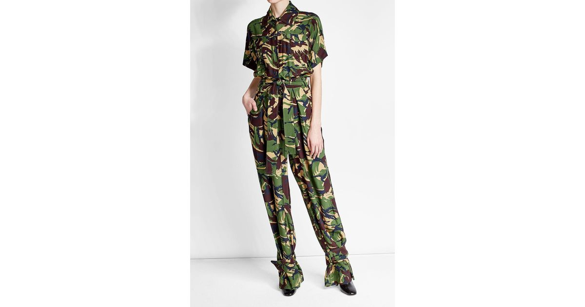 eb17585fd55 Off-White c o Virgil Abloh - Green Camouflage Silk Jumpsuit - Lyst