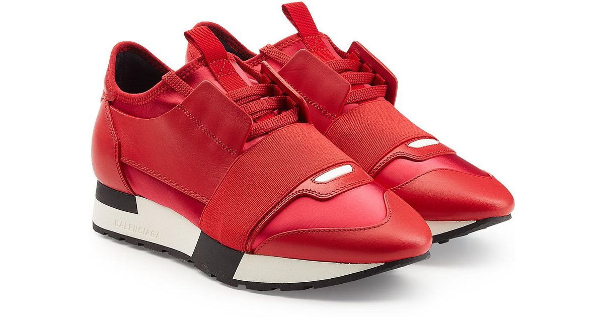 ac9869bfe3795 Balenciaga Race Runner Sneakers With Leather And Satin in Red - Lyst