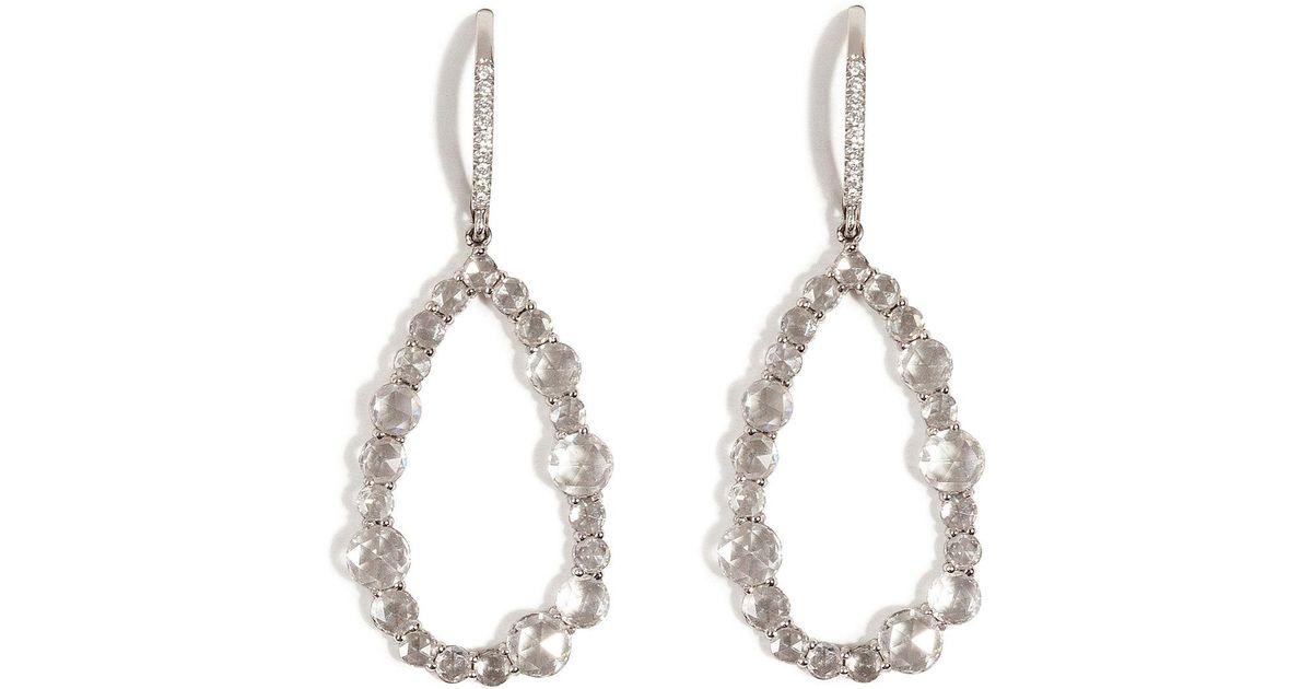 Lyst Susan Foster 14k White Gold Chandelier Earrings With Diamonds In