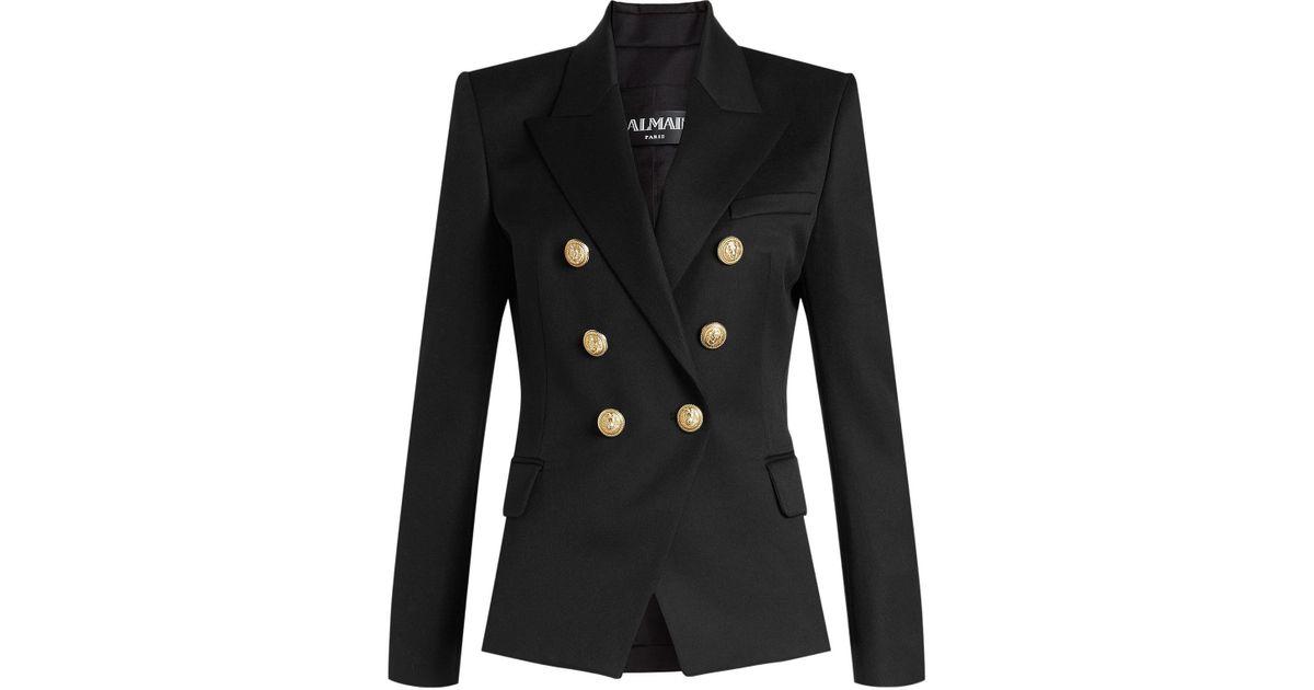 19b7865c7 Balmain - Black Virgin Wool Blazer With Embossed Buttons - Lyst
