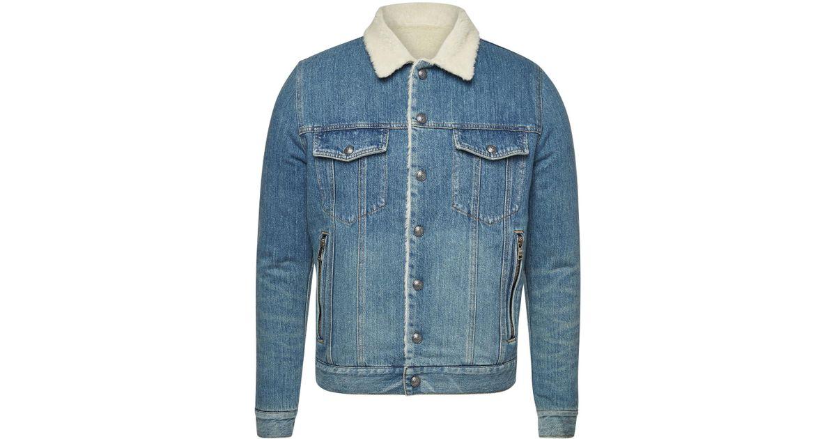 cecce24c Balmain Shearling Denim Jacket in Blue for Men - Lyst