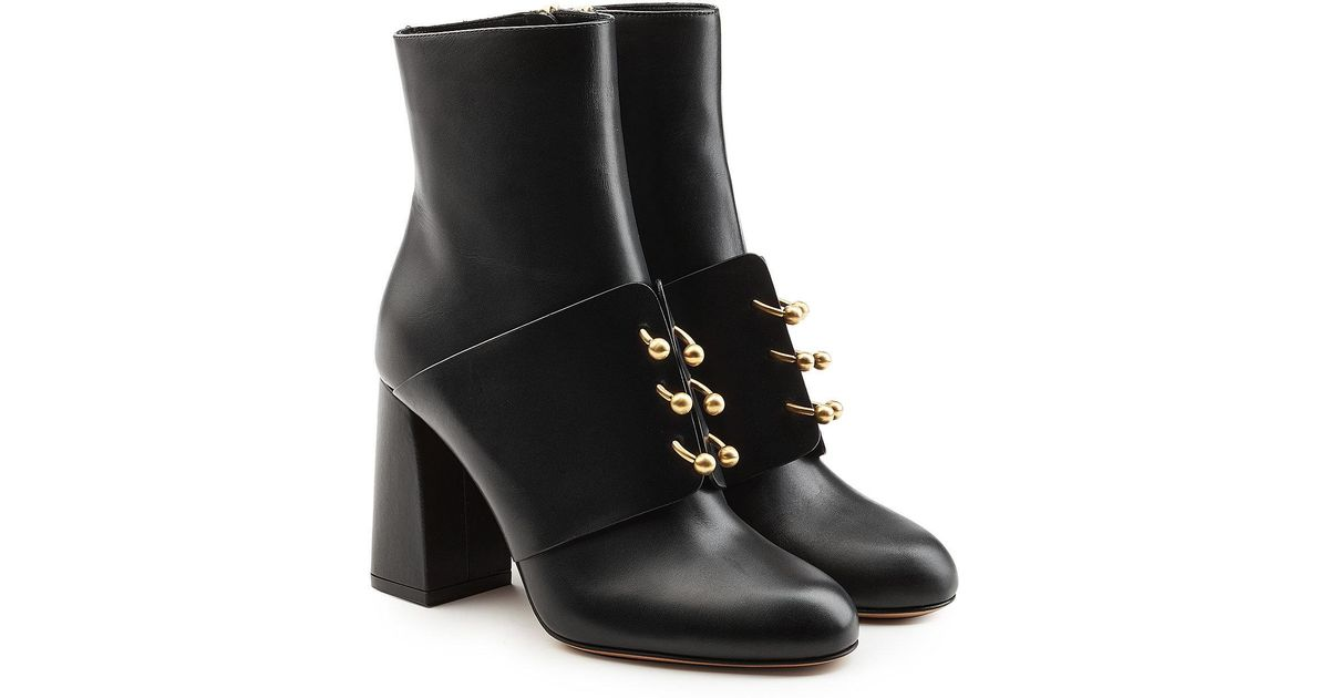 RED Valentino Embellished leather ankle boots Y9yH3qO
