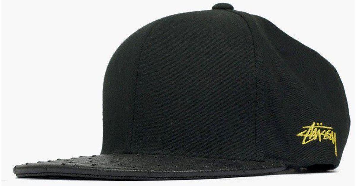 Lyst - Stussy Ostrich Visor Strapback Cap in Black for Men e80b41deafae