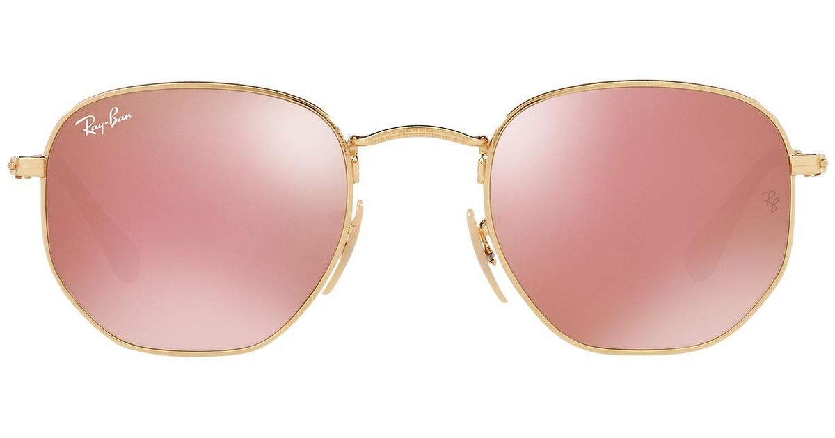 b149d09bf6 Lyst - Ray-Ban Rb3548n 51 Hexagonal Flat Lens Mirror Collection in Metallic  for Men