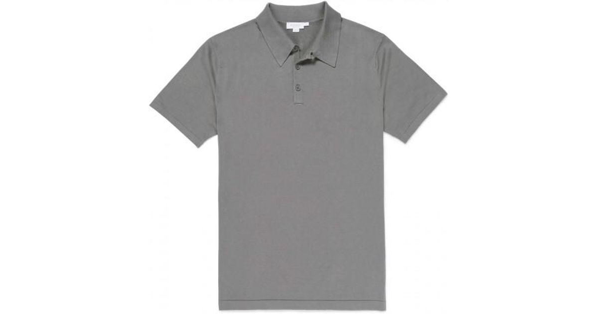 89bf5ac7 Sunspel Men's Sea Island Cotton Knit Polo Shirt In Magnesium in Gray for  Men - Lyst