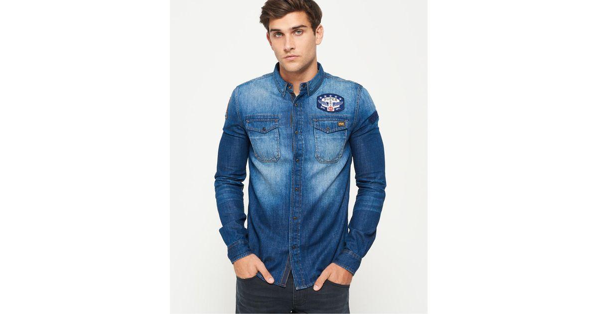 33c48443688 Lyst - Superdry Dragway Patch Denim Long Sleeve Shirt in Blue for Men