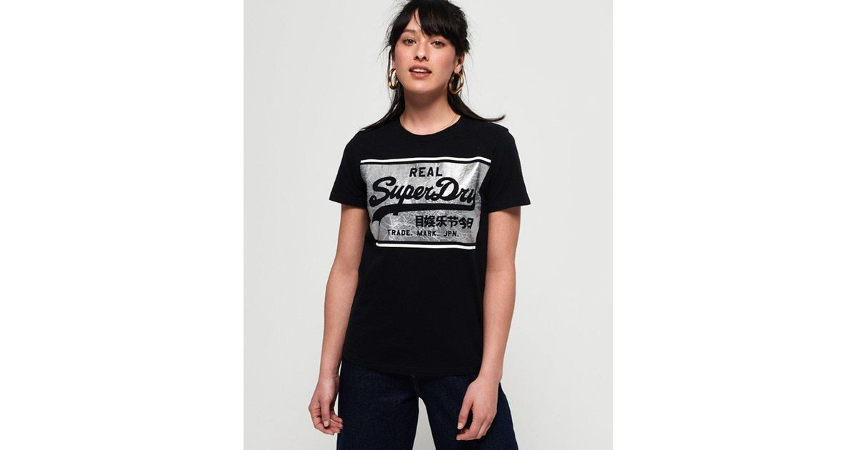 32356d4e Lyst - Superdry Vintage Logo Textured Foil Box T-shirt in Black