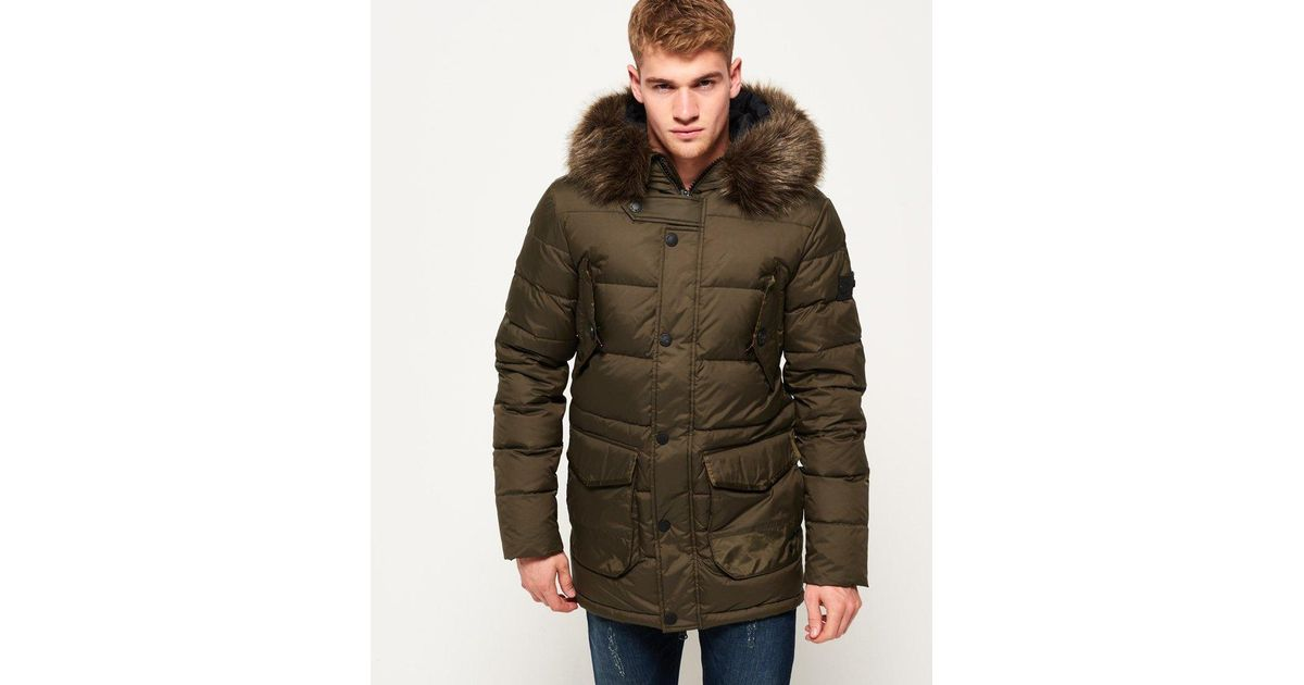 90611ed53 Superdry Green Longline Down Chinook Parka Jacket for men