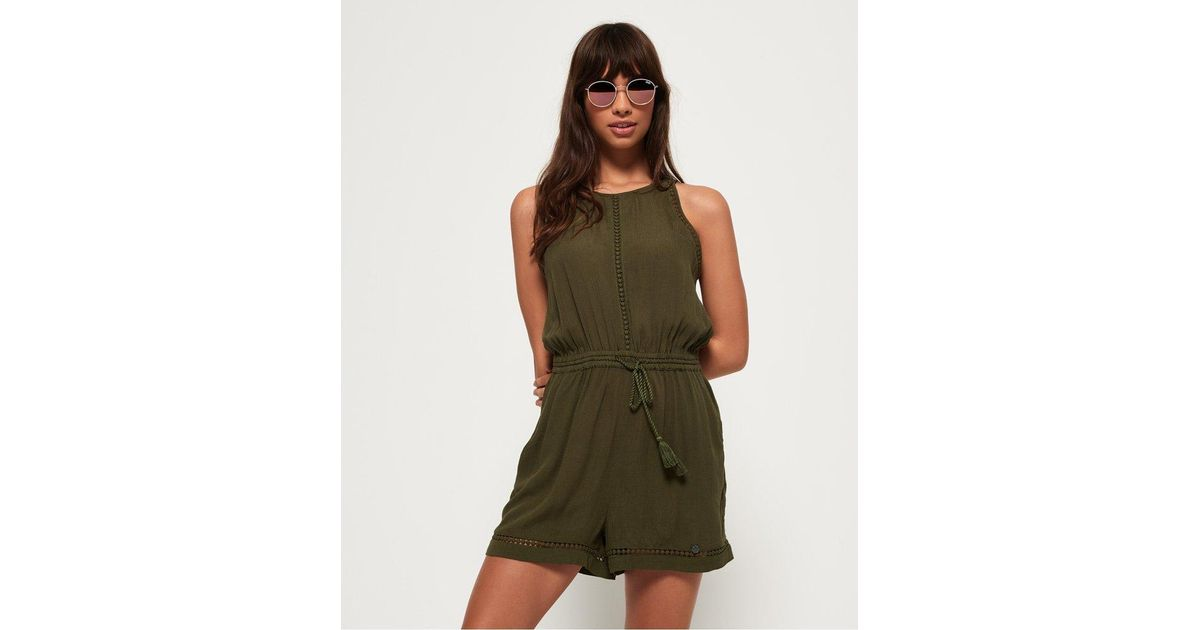 87e6f7639ccf Lyst - Superdry High Neck Playsuit in Green