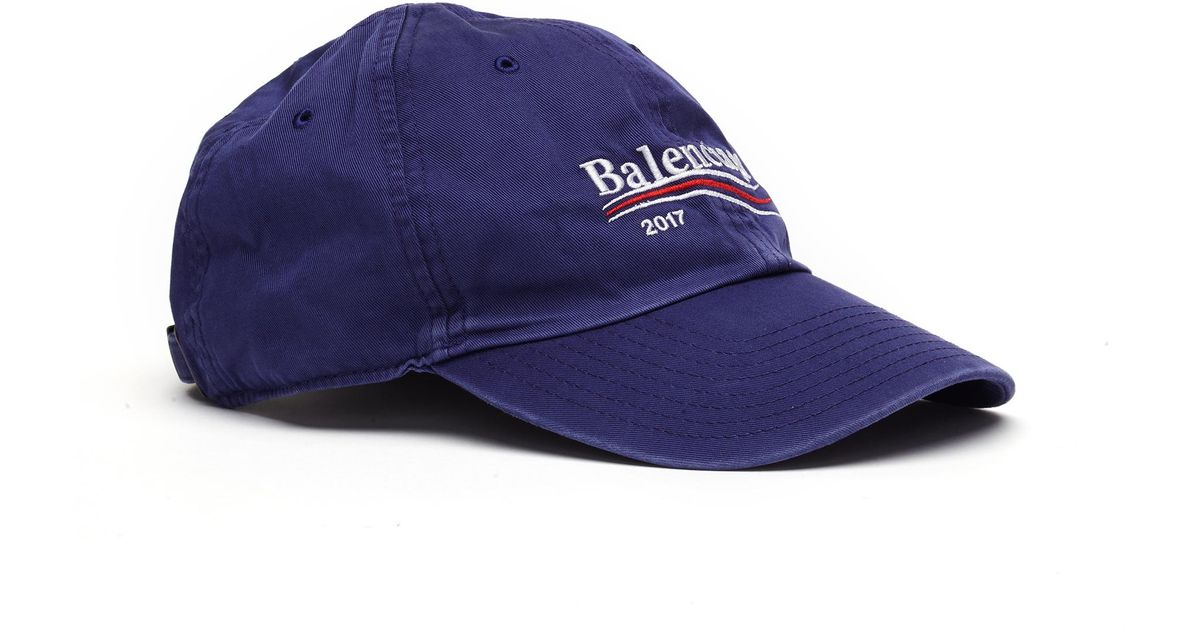 f6613a0ef1608 Balenciaga Embroidered Cotton Cap in Blue for Men - Lyst