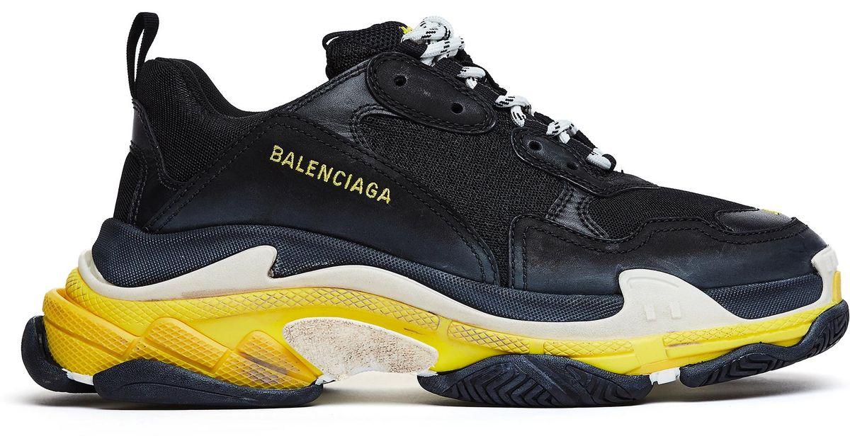 3fe614ed3365 Lyst - Balenciaga Black   Yellow Triple S Sneakers in Black for Men