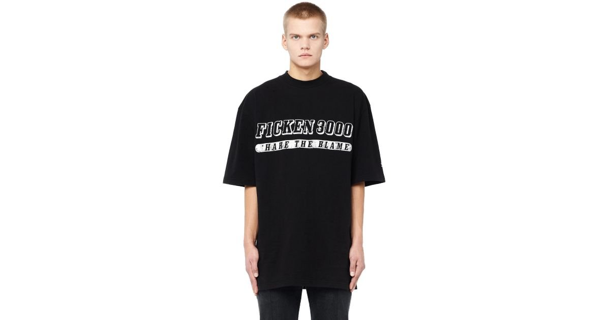 Lyst Vetements Ficken 3000 Printed T Shirt In Black For Men